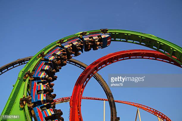 Red and green rollercoaster ride