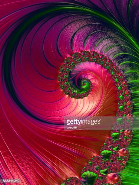 red and Green Spiral abstract fractal pattern