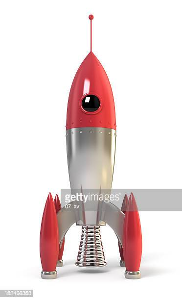 Red and metallic rocket ready for space travel