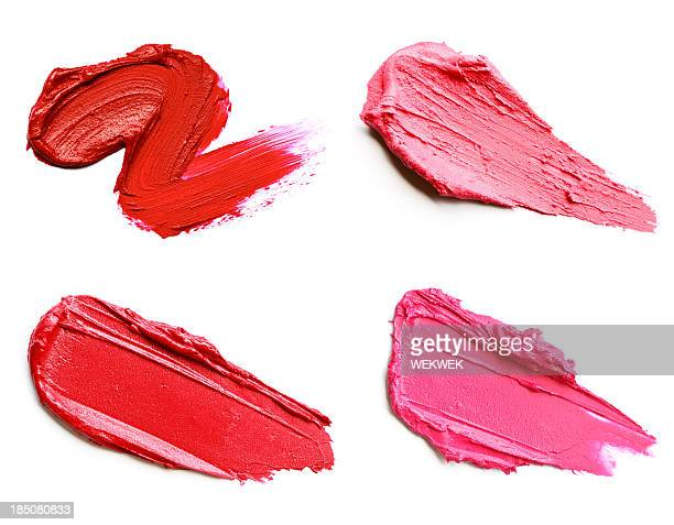 Red and pink lipstick smears