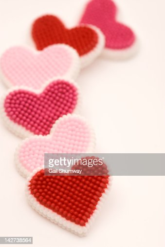 Red and pink sugar candy hearts : Stock Photo