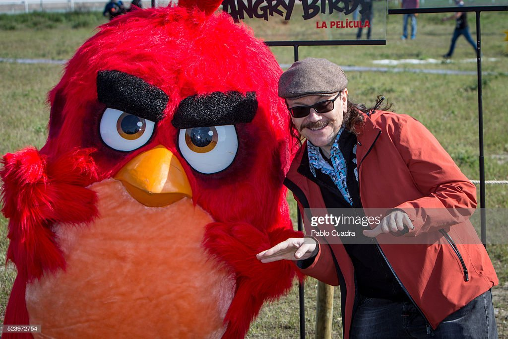 Red and Santiago Segura attend the 'Angry Birds' photocall at the 'La Zarzuela' racecourse on April 25 2016 in Madrid Spain