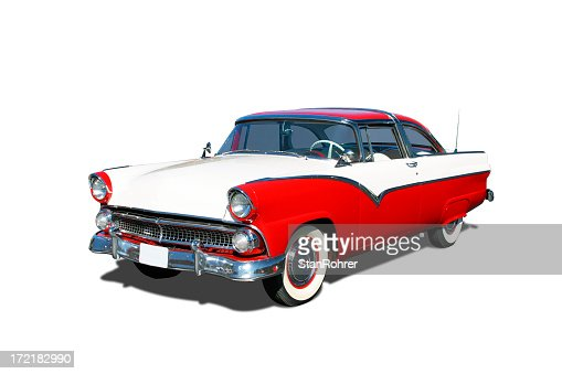 Red and white 1955 Ford Fairlane Crown Victoria vehicle