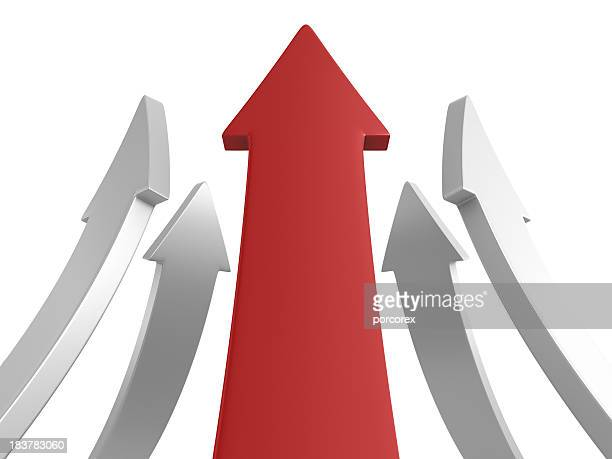 Red and white arrows pointing upward