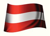 red and white austrian flag flying in the breeze