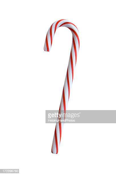 Red and white candy cane on a white background