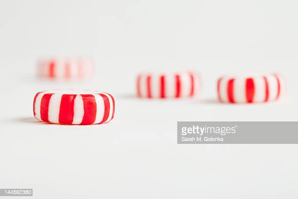 Red and white candy canes, studio shot