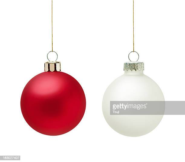 Red and white christmas balls