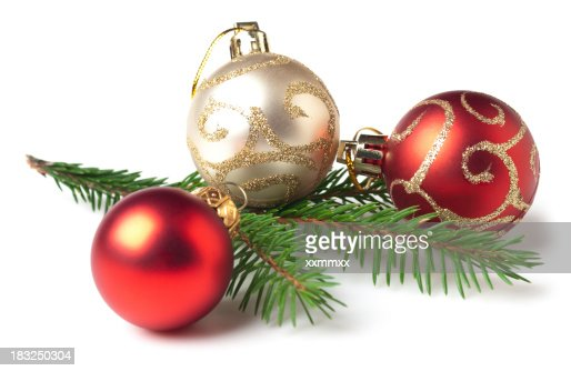 red and white christmas bulbs and tree branch stock photo getty images - Christmas Tree Bulbs