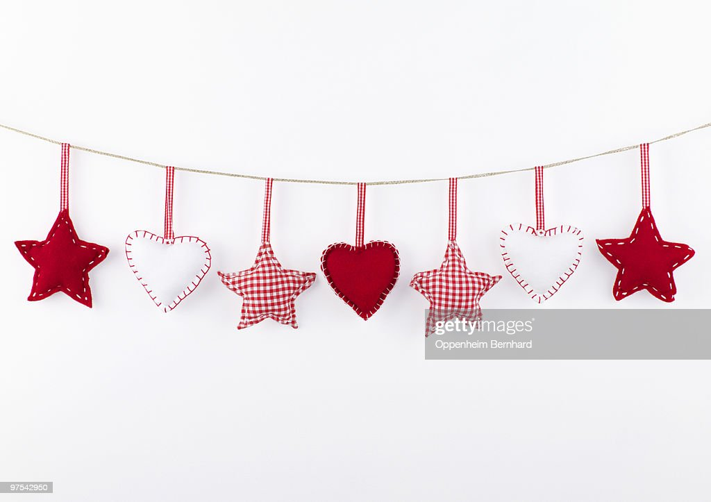 red and white christmas decorations hanging  : Stock Photo