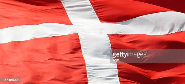 Red and white Dannebrog the flag of Denmark full frame