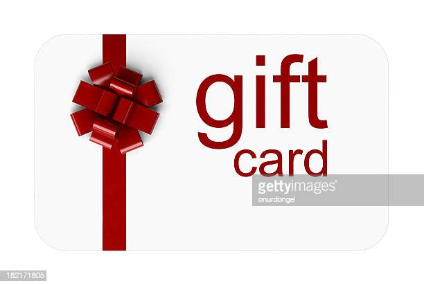 A red and white gift card with a bow on it