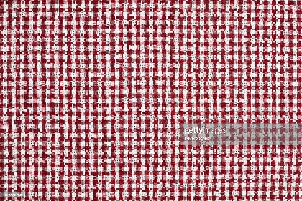 Red And White Gingham Checkered Tablecloth Background : Stock Photo