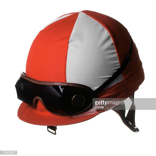 Red and white jockey's racing helmet with goggles