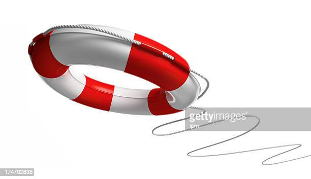 Red and white life saver on white background