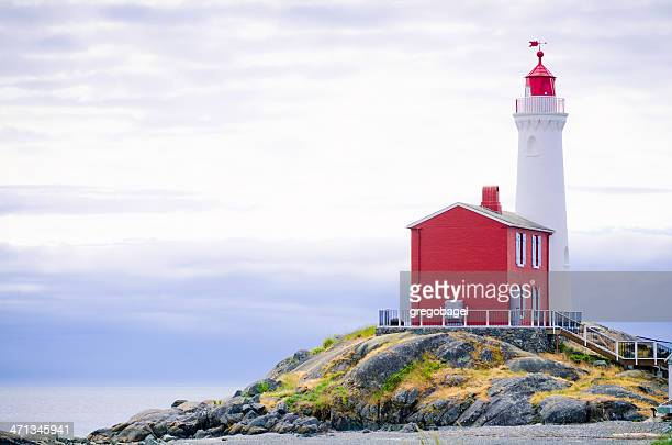 Red and white lighthouse on a cliff