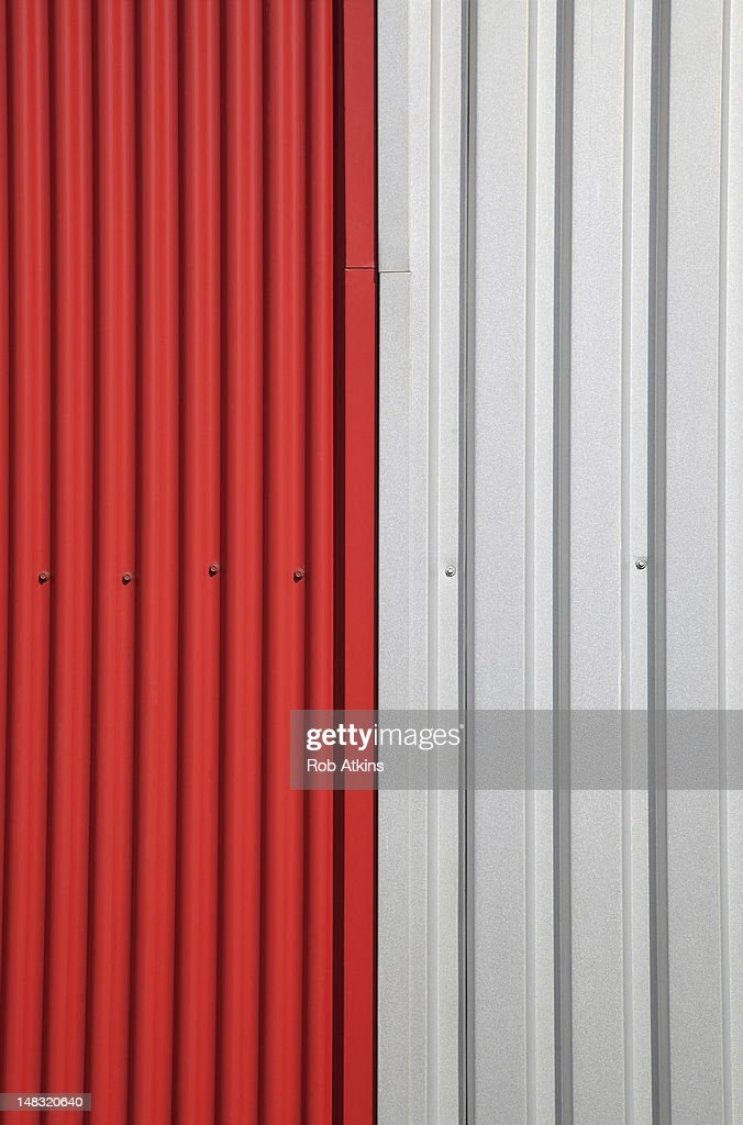 Red and white metal Siding