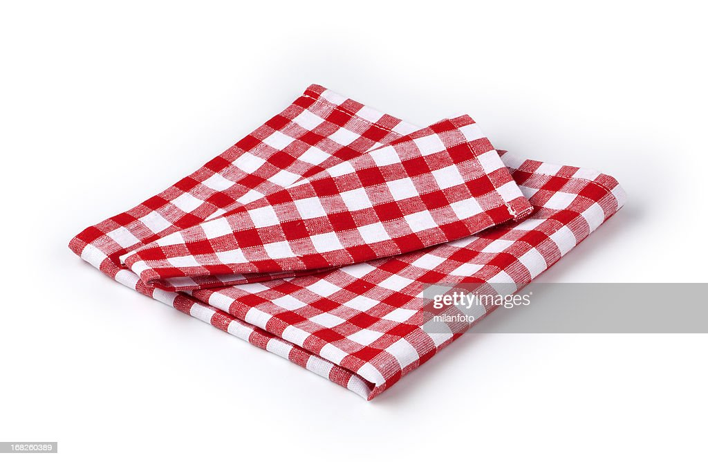 Red and white napkin : Stock Photo