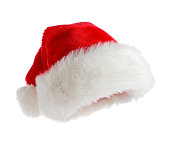 Red Santa's hat isolated on white background