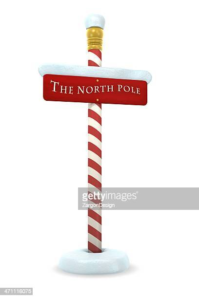 A red and white sign of the North Pole