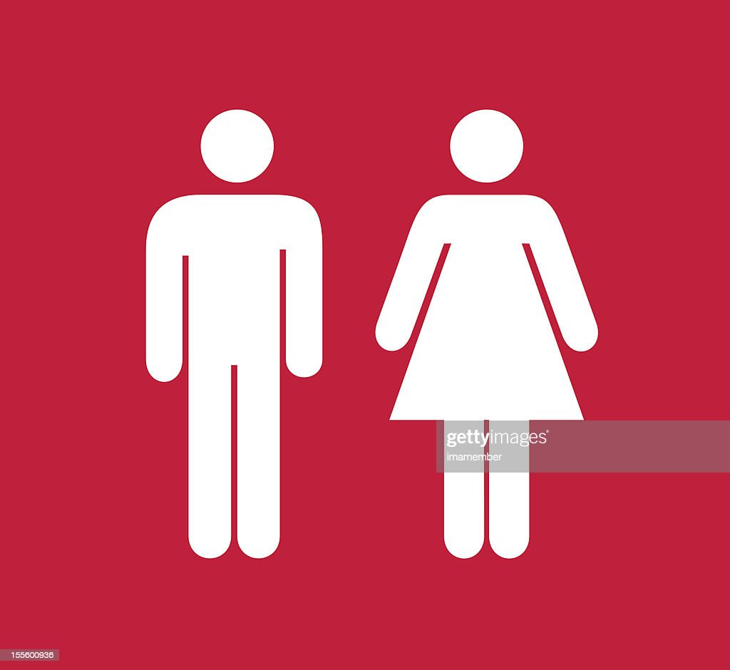 Red and white square male and female restroom sign stock for Male female bathroom sign images