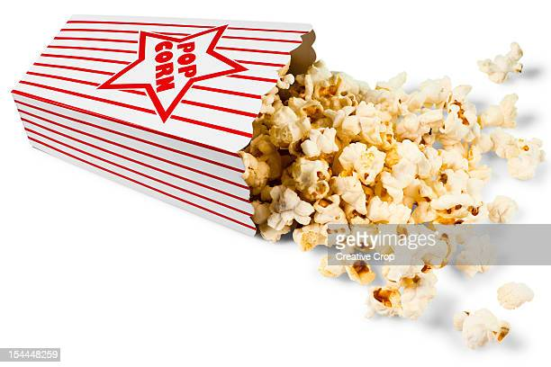 Red and white stripped bag of popcorn
