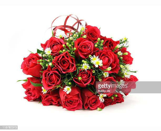 Red and white valentines or wedding bouquet
