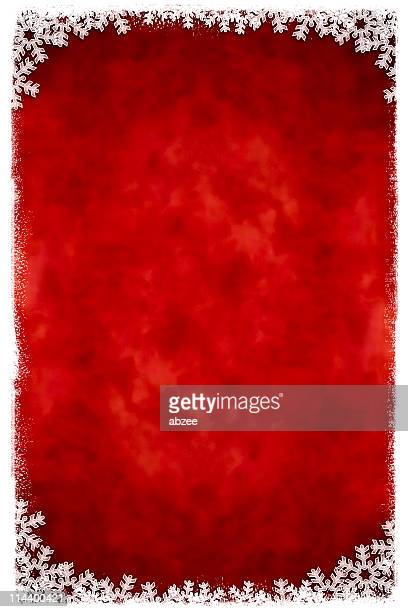 Red and white vertical snowflake framed background