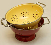 Red and yellow kitchen colanders 16 September 2004 SMH Picture by QUENTIN JONES