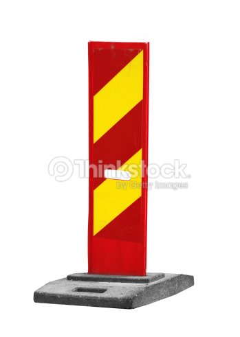 Red And Yellow Striped Caution Road Sign Isolated On White