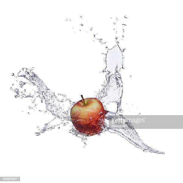 Red apple and splash of water