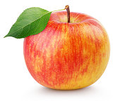 Single ripe red yellow apple fruit with green leaf isolated on white background with clipping path