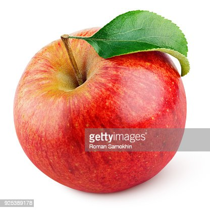 Red apple fruit with green leaf isolated on white : Foto de stock