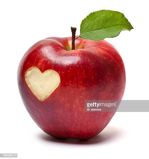 Rojo con símbolo de corazón de manzana