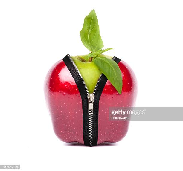 Red apple zipping Ito green apple