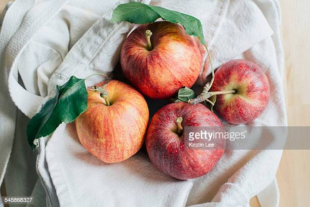 Red apples in bag