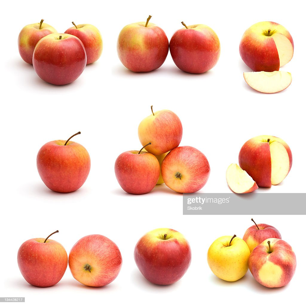 Red apples isolated on white background : Stock Photo