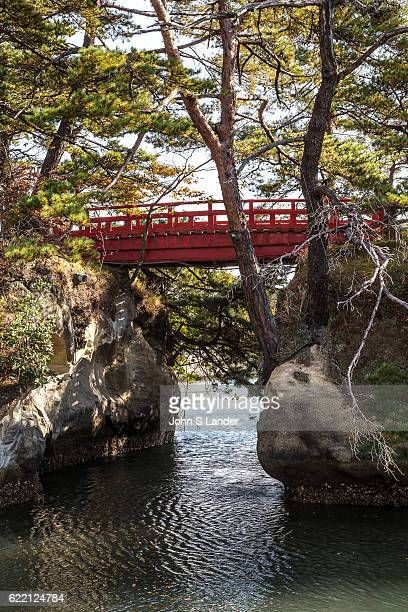 Red Arched Bridge at Godaido Matsushima Bay Godaido is a Buddhist worship hall Godaimyo had been enshrined and the icon or symbol of Matsushima The...