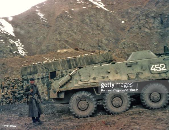 A Red Army post along the supply route to Russia during the invasion of Afghanistan by the Russians January 1980