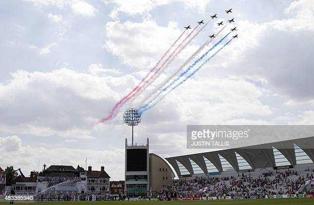 Red Arrows fly past after England wrap up the game and retain the Ashes on the third day of the fourth Ashes cricket Test match between England and...