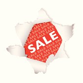 Red background sale tag with exploding hole and drop shadow