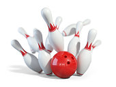 Red ball smashes the bowling pins. Objects isolated on white background 3D