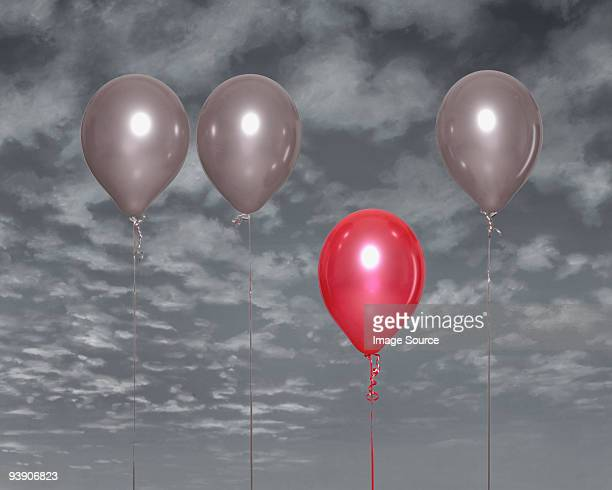 Red balloon standing out