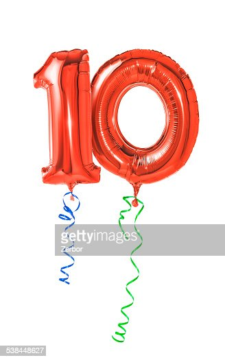 Red balloons with ribbon - Number 10 : Stock Photo