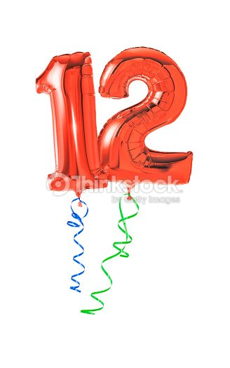 Red Balloons With Ribbon Number 12 Stock Photo
