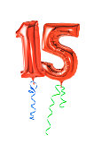 Red balloons with ribbon - Number 15