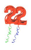 Red balloons with ribbon - Number 22