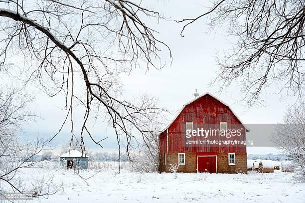 Rosso di un fienile in inverno