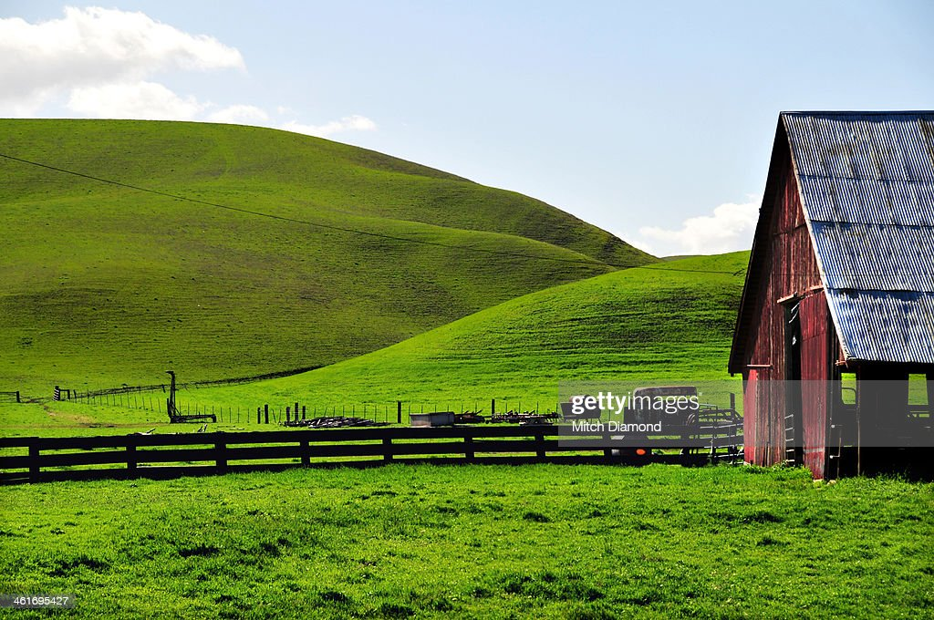 red barn on farm landscape