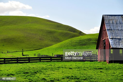 red barn on farm landscape